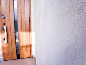職人のワザが光る塗壁の外壁に個性がチラリ。