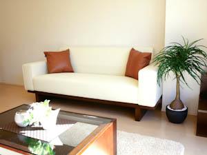 どんなテイストでも合わせやすい、シンプルなソファとローテーブル付きなのがうれしい。