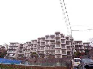 里山の風景に佇む段々状の建物。