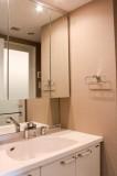 鏡が大きいのがうれしい洗面所。