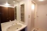 大きなミラーがうれしい洗面所。