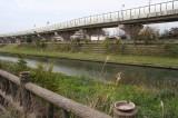 道路を挟んで目の前を流れる河川